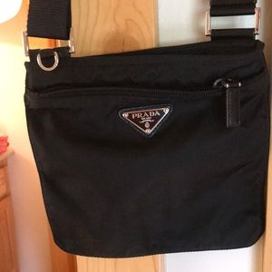 Prada black barely used crossbody bag